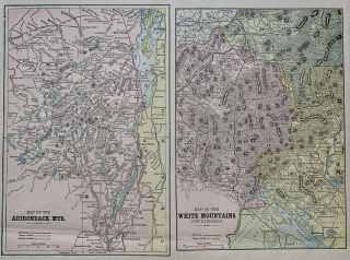 Map of the Adirondack Mts. & Map of the White Mountains (New Hampshire). George F. CRAM
