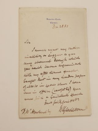 Autographed Letter Signed. William E. GLADSTONE