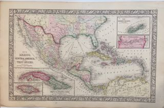 Map of Mexico, Central America, and the West Indies. Samuel Augustus Jr MITCHELL