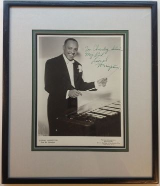 Inscribed Photograph Framed. Lionel HAMPTON, 1908 - 2002
