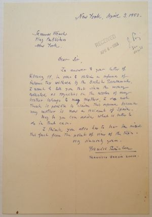 Autographed Letter Signed to the Samuel French company. Francisco GARCIA LORCA, 1902 - 1976