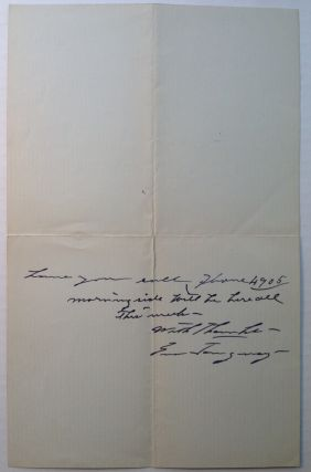 Autographed Letter Signed to songwriter Maria Theresa Laing