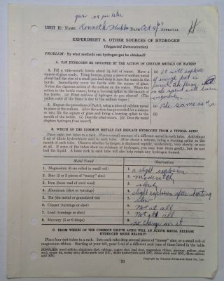 Signed Workbook Sheet. Ken HUBBS, 1941 - 1964.
