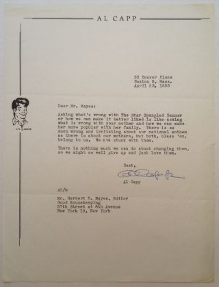 Typed Letter Signed to editor Herbert Mayes. Al CAPP, 1909 - 1979
