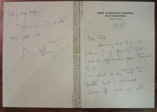 "Autographed Letter Signed on ""The Midland Hotel"" stationery. Noel COWARD, 1899 - 1973"