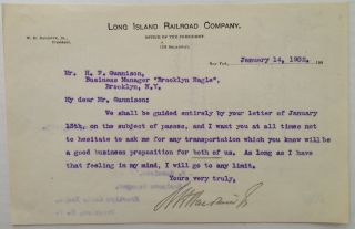 "Typed Letter Signed on ""Long Island Railroad Company"" letterhead. William Henry BALDWIN, 1863 - 1905"
