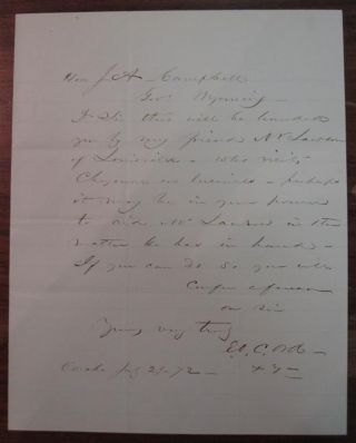 Autographed Letter Signed to the Governor of the Wyoming Territories. Edward O. C. ORD, 1818 - 1883