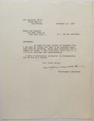Typed Letter Signed. Christopher ISHERWOOD, 1904 - 1986