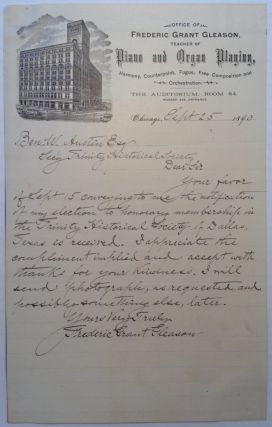 Autographed Letter Signed on personal letterhead. Frederic Grant GLEASON, 1848 - 1903