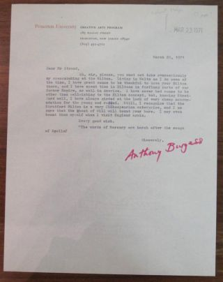 Typed Letter Signed on Princeton University letterhead. Anthony BURGESS, 1917 - 1993.