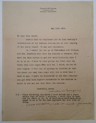 Typed Letter Signed on personal stationery. Thornton W. BURGESS, 1874 - 1965