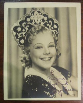 Inscribed Photograph. Sonja HENIE, 1912 - 1969.