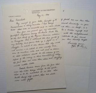 "Autographed Letter Signed on personal ""University of The Philippines"" letterhead. General Carlos..."