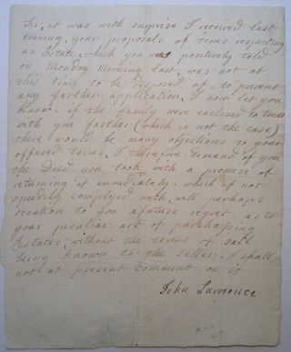 Autographed Letter Signed about a real estate deed. John LAURENCE, 1750 - 1810